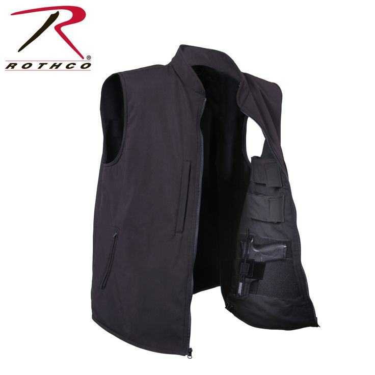 Rothco Concealed Carry Soft Shell Vest is durable, lightweight and breathable, the concealed carry vest features a 100% polyester shell with a 3 layer construction that deflects wind wick away moisture and retains body heat. The concealed carry vest is also equipped with two interior hook & loop fields for concealed holster attachment one on each side and four interior mag pouches.