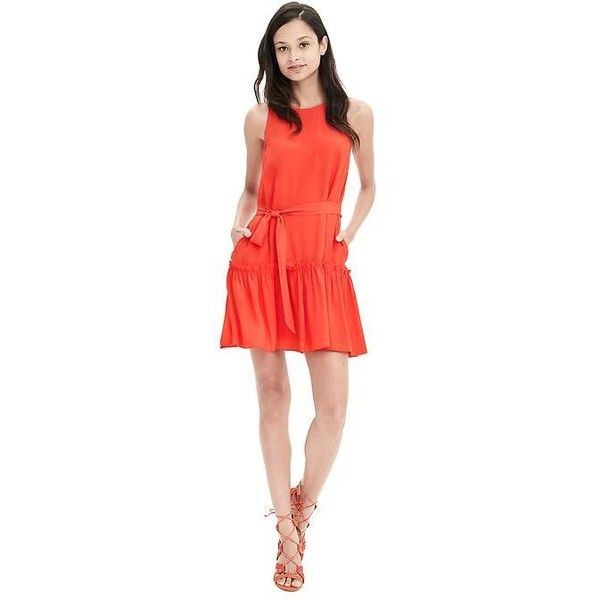 Banana Republic Womens Coral Crepe Flounce Dress (165 CAD) ❤ liked on Polyvore featuring dresses, orange slice, petite, drop waist dress, red sleeveless dress, ruffle dress, petite red dress and petite dresses
