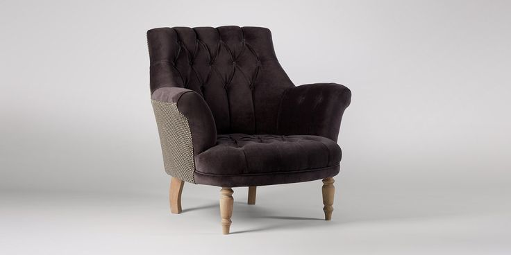 Swoon Editions Armchair, modern country style in Dark Grape Charcoal - £549
