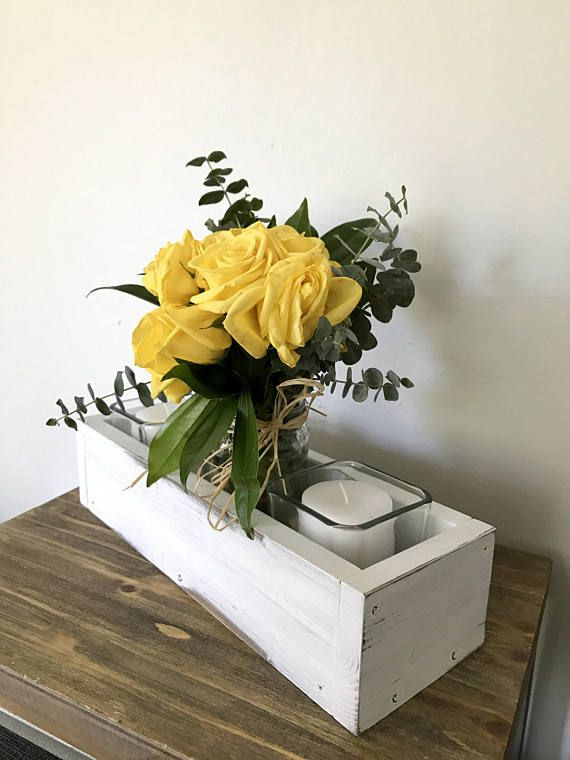 White distressed wood box centerpiece Table centerpiece