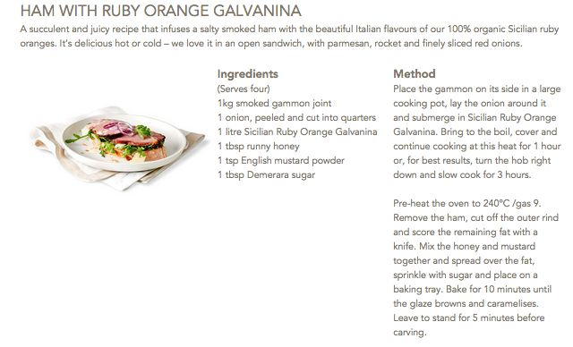 Ham with Ruby Orange Galvanina #Galvanina #drink #recipe