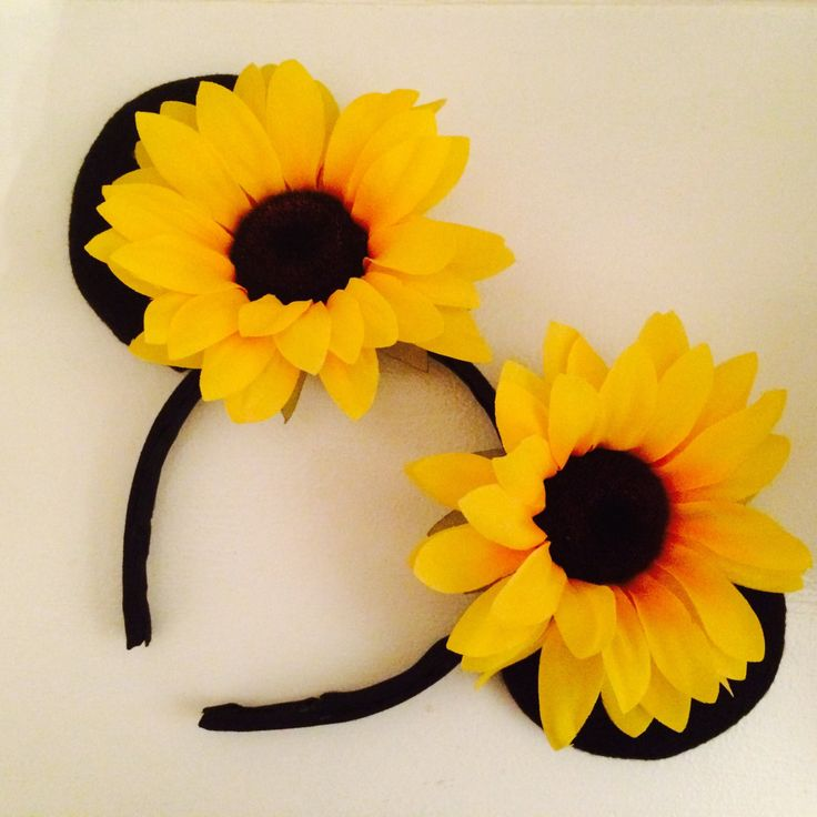 30% Off Sale! Super cute double Sunflower Mickey Mouse Ears, Minnie Mouse ears, flower ears, Mickey ears, Mickey headband, ears headband by TheBlushingIris on Etsy