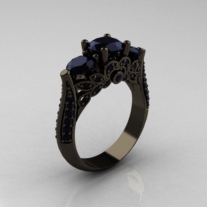 OMG LONNIE MUST BUY ME THIS!!!!  Classic 14K Black Gold Three Stone Black Diamond Solitaire Ring R200-14KBGBD. $2,399.00, via Etsy.