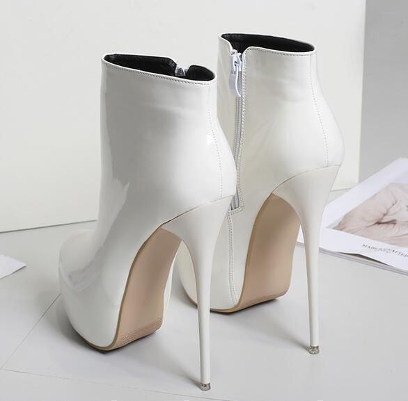 Womens Shiny Patent Leather Ankle Boots Platform High Heel Pumps Shoes Stiletto   Clothing, Shoes & Accessories, Women's Shoes, Boots   eBay!