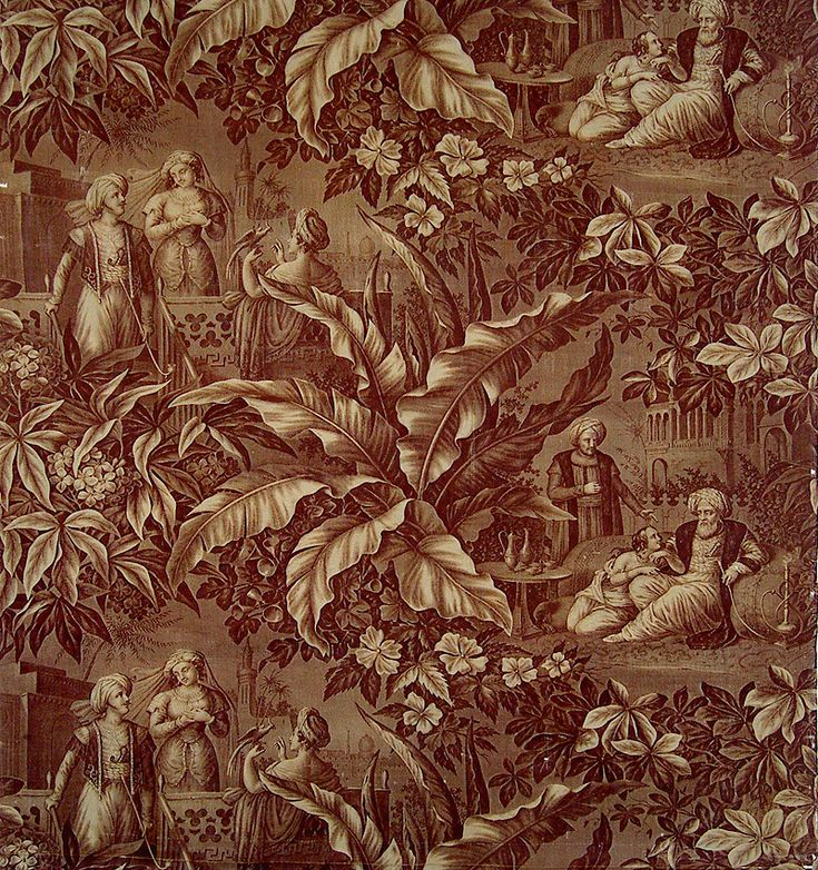 Antique French Textile, Print on Cotton Oriental Scenes by: Koechlin Ziegler Design by Zipelius  Cirica 1824-1840