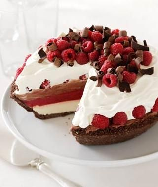 Chocolate Raspberry Ice Cream Pie Recipe    Ingredients:    Crust  12 to 15 whole chocolate graham crackers  5 tablespoons butter, softened  1⁄4 cup sugar    Filling  1 container (14 to 16 oz) vanilla ice cream  1 pint raspberry sorbet  1 container (14 to 16 oz) chocolate ice cream  1 pint red raspberries  1 tub (8 oz) frozen whipped topping, tha