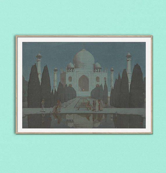 Taj Mahal Night Ukiyo-e Japanese Wood Block Print Hiroshi