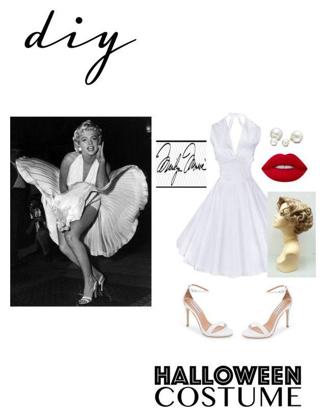 """DIY Halloween Costume- Marilyn Monroe"" by skylardaniels on Polyvore featuring Steve Madden, Allurez, Lime Crime, halloweencostume and DIYHalloween"