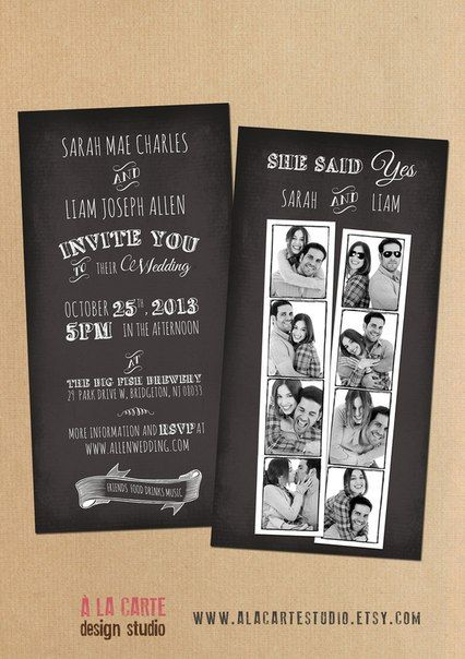 Photo Booth Snapshots Chalkboard Inspired Wedding Invitation Suite Offbeat…
