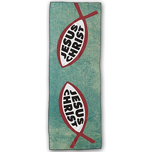 Lightweight Ichthys Jesus Christ Yoga Mats - Outdoor Beach 72x24 Inches Yoga Towel - 100% Made From Polyester Velvet -absorb Sweatrn For Yoga, Outdoor Sports, Beaches, Travel, Picnic -- Click on the image for additional details.  This link participates in Amazon Service LLC Associates Program, a program designed to let participant earn advertising fees by advertising and linking to Amazon.com.
