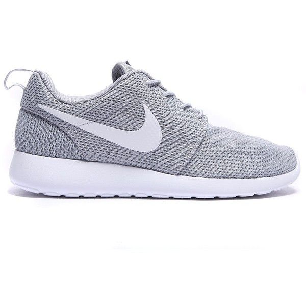 Roshe Run Trainer (€87) ❤ liked on Polyvore featuring shoes, nike, sneakers, sapatos, grey shoes, breathable shoes, gray shoes, white shoes and white rubber shoes