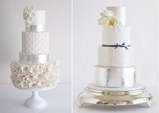 Silver ideas with cake by Coco Cakes left and by Faye Cahill Cake Design right