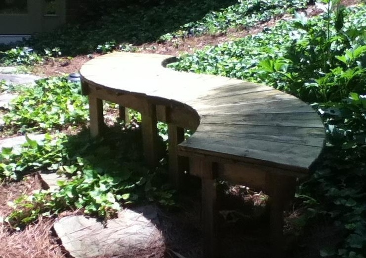 Hand Crafted 44 Inch Pine or Spruce Fan Bench or Table For the Inside or Porch Use. $139.95, via Etsy.