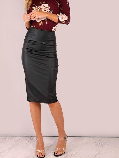 b0609da566 Wide Waistband Coated Pencil Skirt [mmcskirt-2304d-black] - $20.00 :  moonbaye.com