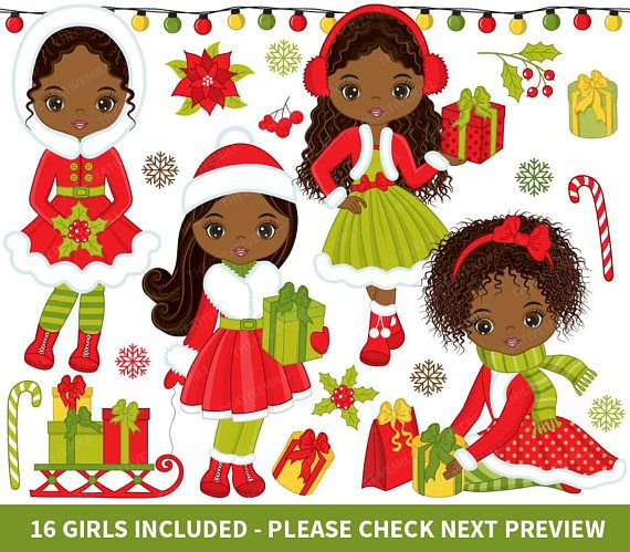 Christmas Girls Clipart, Vector Christmas Girls, African American Clipart #thecreativemill