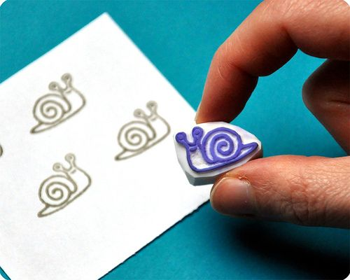 Snail hand carved rubber stamp | carved by Memi The Rainbow | Flickr