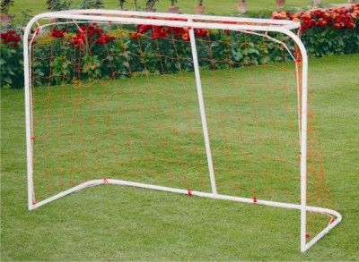 "Soccer Goal Post Steel - School: Soccer goal post made of 1"" Steel tube, powder coated for durability. It comes with bottom frame base, easy to assemble and carry."
