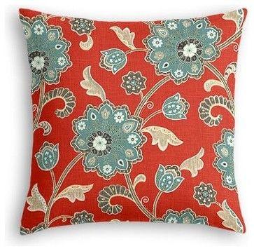 Red & Aqua Stylized Floral Custom Euro Sham - contemporary - Pillowcases And Shams - Loom Decor