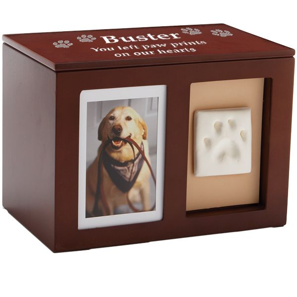 Dog Urn- Pet Memorial Wooden Pawprint Memory Box