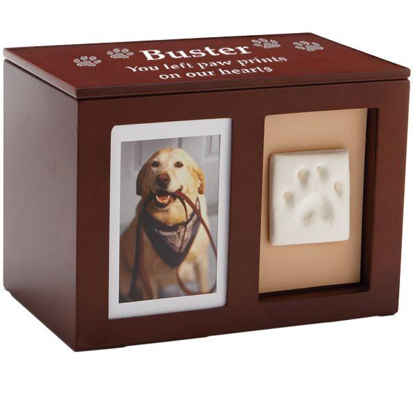 Dog Urn- Pet Memorial Wooden Pawprint Memory Box