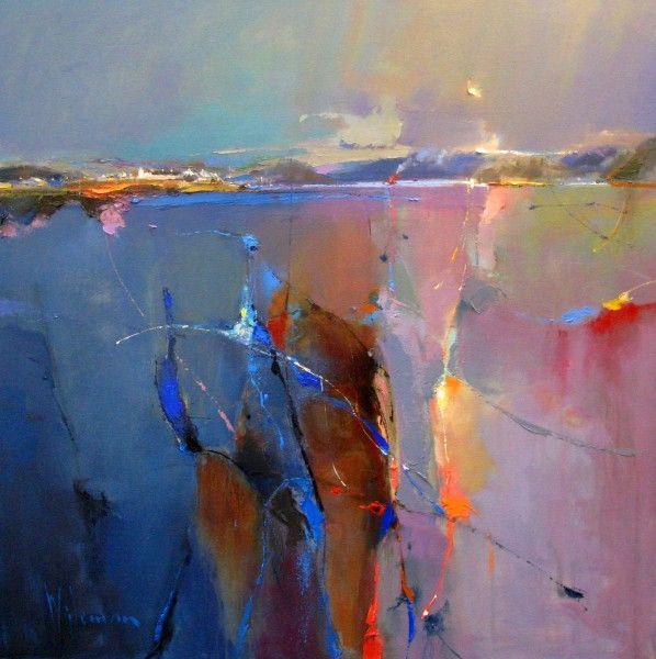 Moonlight over Loch Carron 30x30 oil on canvas. Peter Wileman
