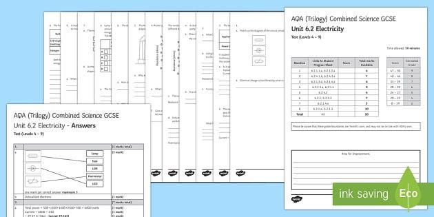 AQA (Trilogy) Unit 6.2 Electricity Test