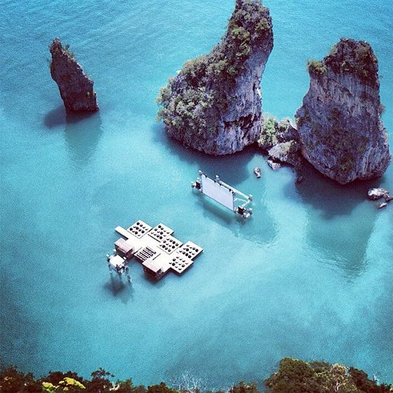 """Floating movie theatre in the paradise of Thailand. Two of my favourite things in one. I NEED to go here!: """"Film on the Rocks"""", in Yao Noi, Thailand,"""