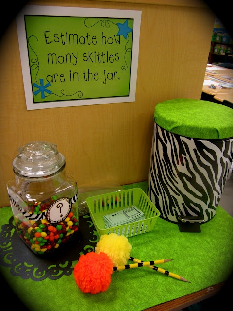 The Creative Chalkboard: Estimation Station...love the pedal bin!!! :)