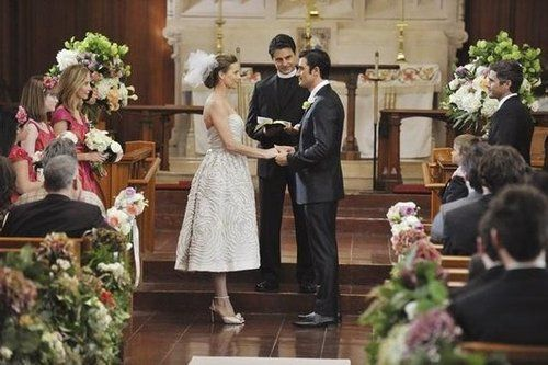 Sarah (Rachel Griffiths) and Luc (Gilles Marini) tie the knot in a traditional ceremony.  Photo courtesy of ABC