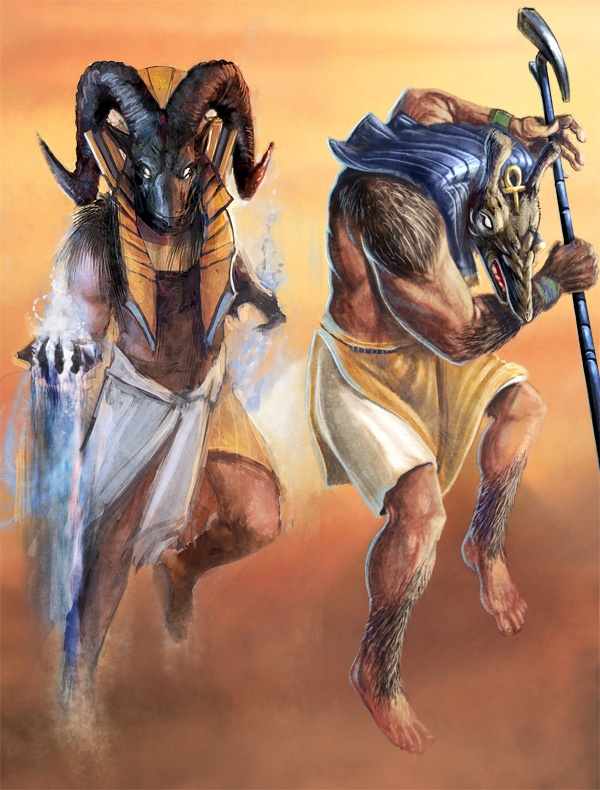 High Heavens Kickstarter card art. Khnum and Set.
