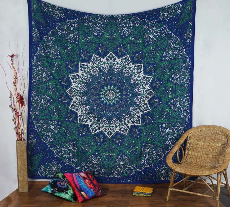 Indian Wall Hanging Tapestry Queen Size Mandala Star Cotton Blue Bedspread Throw