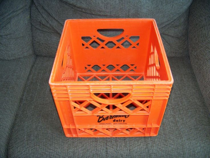 Vintage Orange Baremans Plastic Milk Crate From Holland Michigan Made In U.s.a.