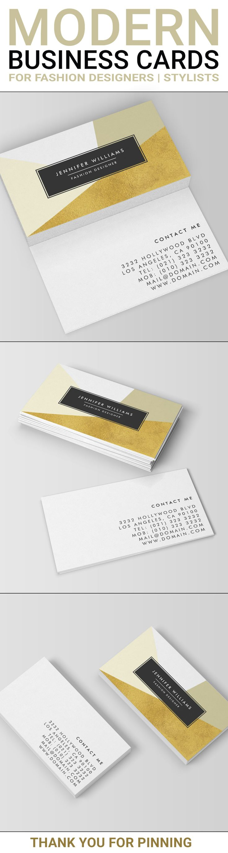A modern business cards design using geometric shapes with faux gold foil. This elegant business card is ideal for the trendy individual and business alike. Represent yourself or your business with this stylish and chic business card featuring a faux gold design element. This modern and professional design is double sided and features your name and business on the front of the card while all your contact info is presented on the back. Geometric designed business cards created by J32 Design