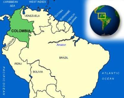 Columbia es en América del Sur a la izquierda de Venezuela