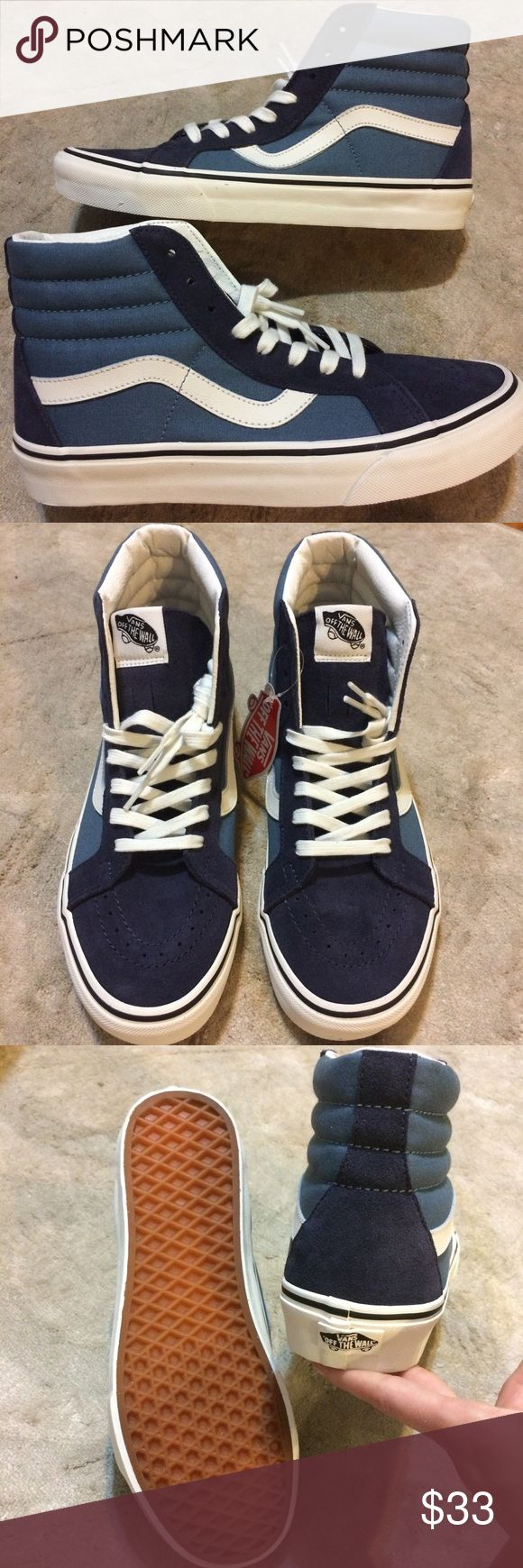 Lowest! Vans Skate Hi Top Suede & Canvas 2 Tone 2 Different sizes available!!       Never worn!!!          Great condition as pictured above!!!             Comes with the original box and an extra set of shoe laces and stickers!!!       Vans run true to size unless you are comparing to Nike. Then, they run a half size bigger.                ***Please don't make offers. This is my lowest price.💰.           *Darker blue on the front and back heel are a beautiful Suede while the lighter blue…