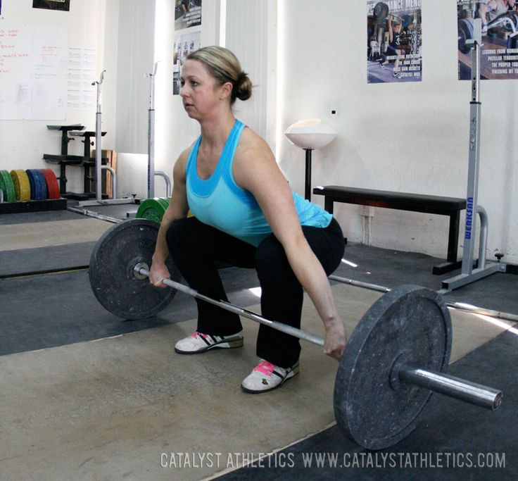 A look at the proper starting position for the snatch and clean for Olympic weightlifting