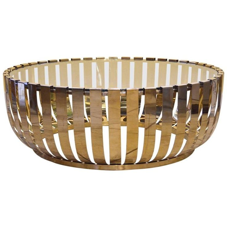 Modern Round Brass Glass Top Coffee Table | From a unique collection of antique and modern coffee and cocktail tables at https://www.1stdibs.com/furniture/tables/coffee-tables-cocktail-tables/
