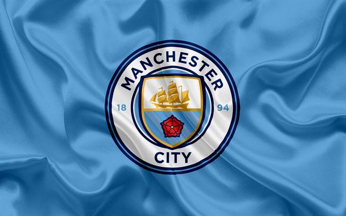 Descargar fondos de pantalla El Manchester City, Club de Fútbol, el Nuevo emblema de la Premier League, el fútbol, Manchester, Reino Unido, Inglaterra, la bandera, el escudo, la Ciudad de Manchester, el logotipo, el club de fútbol inglés