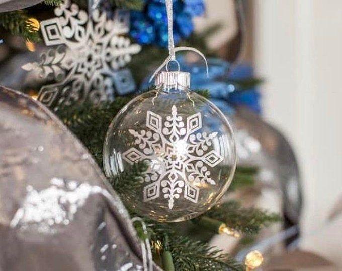White Snowflake Glass Christmas Ornament White Christmas Ornament Glass Snowflake Holiday Decor White Glass Snowflake Ornament