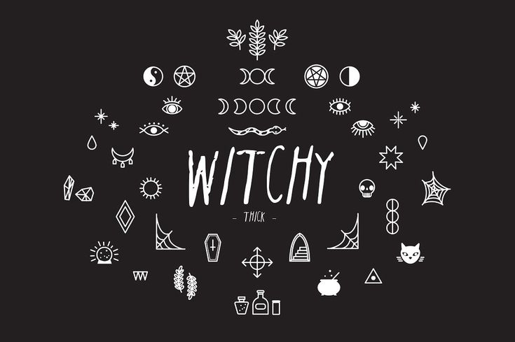 Download Witchy: Vector Pack + Font | Witchy, Witch font