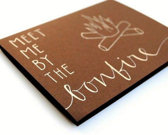 Invitation ideas for this years bonfire. Love the simplicity of this. It reminded me of a chocolate bar.(Wouldn't it be fun to make this into a sleeve for a Hershey bar?)