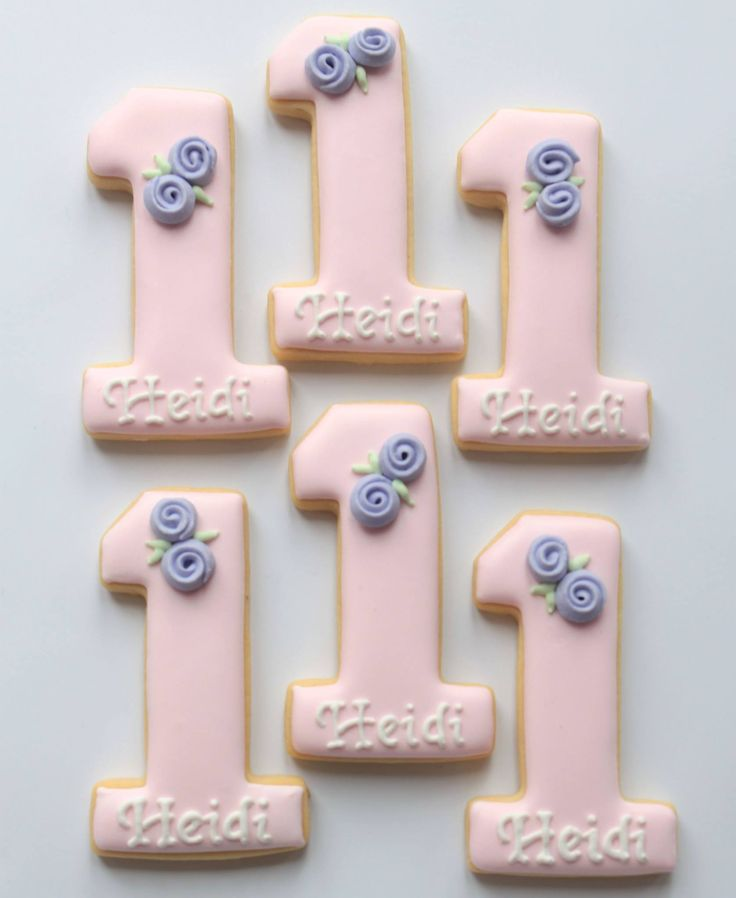 Pretty first birthday cookies by Miss Biscuit