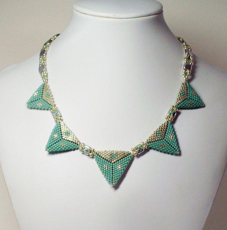 2150 Triangles necklace by Darlene Pfahl lakesidejewelry.etsy.com