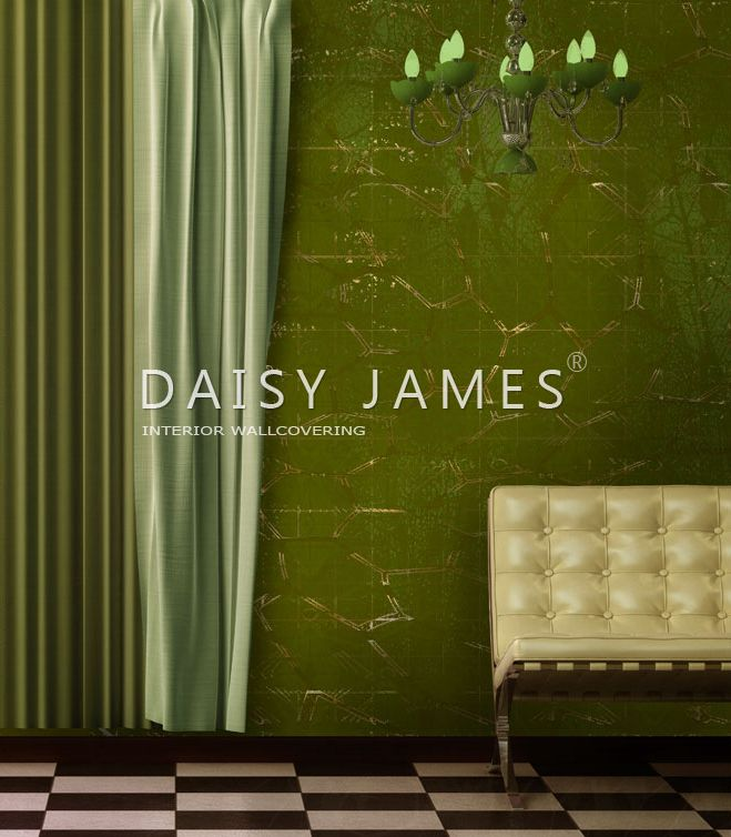 The Green and Gold wall covering by DAISY JAMES #interiordesign #Luxuryhouses #officedesign