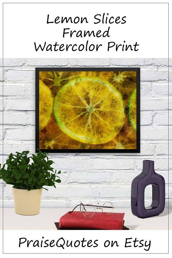 Framed Wall Décor For Kitchen Lemon Slices Art Dining Room Gallery Restaurant Housewarming Hostess Gift Ideas Pinterest