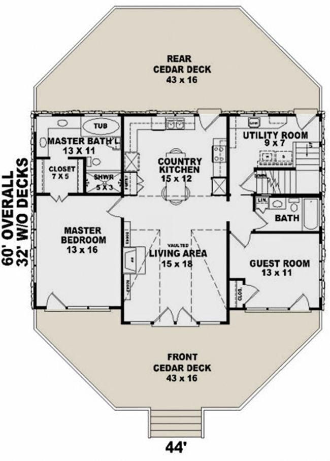 House Plan 053 00214 Small Plan 1 280 Square Feet 2 Bedrooms 2 Bathrooms Small Floor Plans Master Bath Layout Master Bedroom Layout