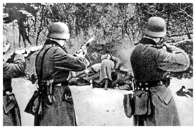 German soldiers executing civilians after the invasion of Poland (1939). A myth goes that the Wermacht (the German army) is not to be blamed for atrocities during World War II, which supposedly were committed by the SS and the Gestapo. This is only partially true. After the invasion of Poland (September 1, 1939), the German regular army murdered hundreds of innocent Polish civilians in horrific executions.