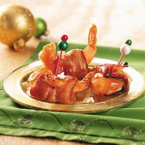 Shrimp Wrapped in Bacon - If you're looking for something a little different to serve guests, you can't go wrong with these elegant shrimp bites, pleasantly seasoned with bacon, basil, goat cheese and barbecue sauce.