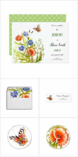 Floral Aquarel Botanical Typography Invitation Set
