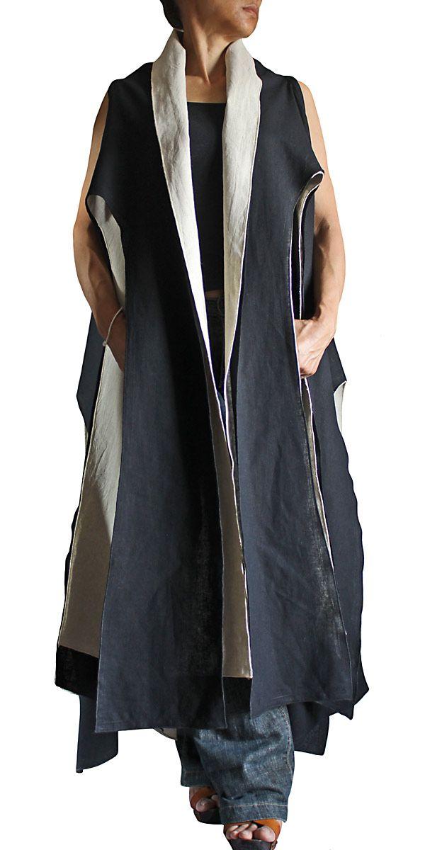 ヘンプのタコ型ノースリーブ羽織ジャケット二枚重ね